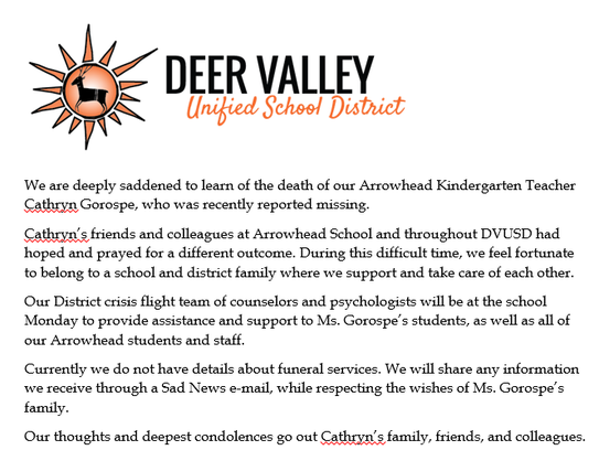 The Deer Valley Unified School District confirms the