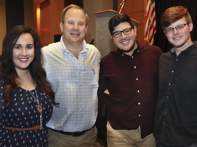 GEORGE TULEY/SPECIAL TO THE CALLER-TIMES Karina Villarreal (from left), Tony LaMantia, Eli Gonzalez and Austin Nylander attended a dinner before the Stars Extravaganza featuring Train on Wednesday, March 23, 2016, at the American Bank Center in Corpus Christi. Proceeds from the concert go to Stars Scholarship Fund. LaMantia is the owner of L&F Distributors, the principal sponsor of the event and the scholarship fund. Villarreal is a student at Texas A&M-Kingsville and a Stars Scholarship recipient. She gave a speech on what the scholarship meant to her being able to attend college. Gonzalez sang the national anthem.