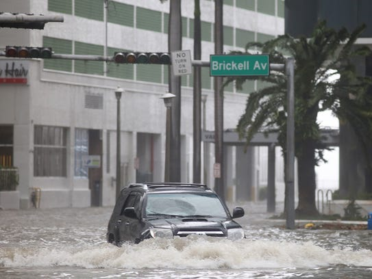 Brickell Avenue in Miami, Fla. was flooded after Hurricane