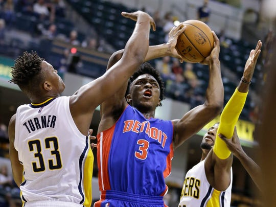 Pistons forward Stanley Johnson (3) shoots over Pacers forward Myles Turner (33) during the first half of a preseason game in Indianapolis on Oct. 13.