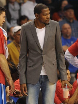 Kevin Durant has watched from the sideline often this season.