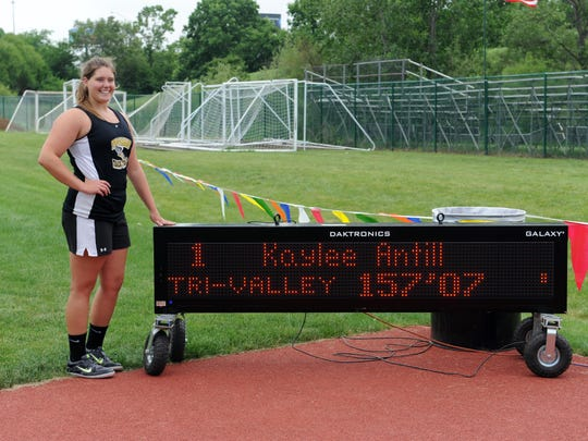 Tri-Valley's Kaylee Antill poses for a photo after placing first in the discus throw Saturday during the State Track and Field Tournament at Jesse Owens Memorial Stadium at Ohio State University in Columbus.