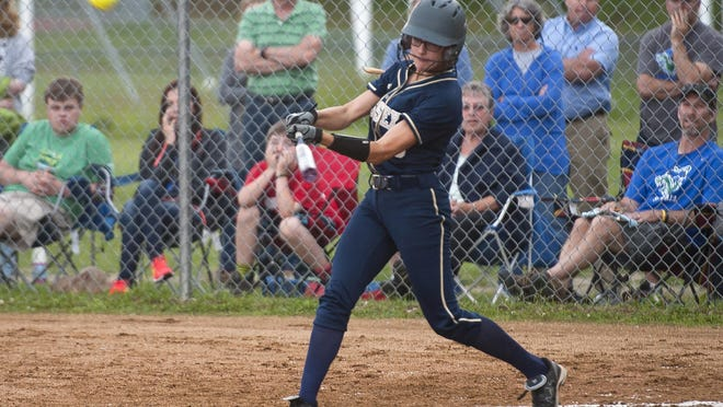 Essex's Makenna Thorne connects on a two-run home run in the sixth inning against Colchester during last year's Division I softball semifinal.