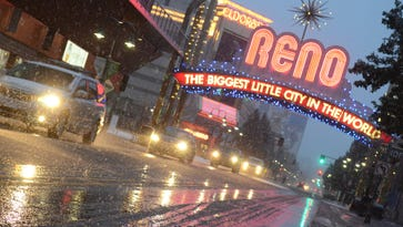 A file photo of rain and snow in downtown Reno.