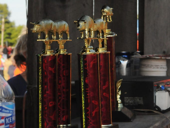 Trophies and cash prizes are awared to the top men's and women's teams at the 32nd annual Valmy Thresheree and Antique Machinery Show on Country View Road in Valmy. The three-day event kicked off with a bance dance on Friday night and concluded with mud pig wrestling on Sunday. Some of the photos appeared in the Aug. 20 edition of Your Key to the Door Weekly inside the Door County Advocate. Tina M. Gohr/Your Key to the Door Weekly