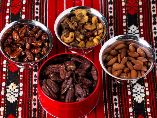 Clockwise from bottom: Mexican-chocolate-spiced pecans,