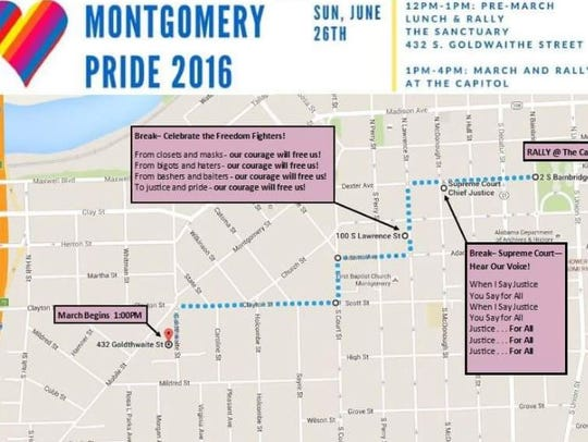 Map of Sunday's march to the capitol.