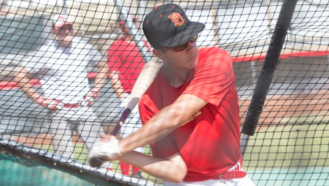 Harrison Nation, seen here taking some swings during a Palm Springs Power camp last May, signed his national letter of intent Friday. The catcher who plays for Shadow Hills is going to Hannibal LaGrange University in Missouri.