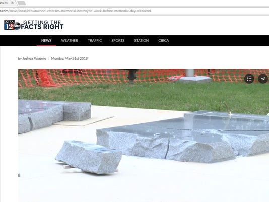 Screenshot of damage to veteran's memorial