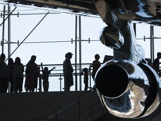 A queue forms at the entrance to Air Force One during a Father's Day event at the Ronald Reagan Presidential Library in Simi Valley.