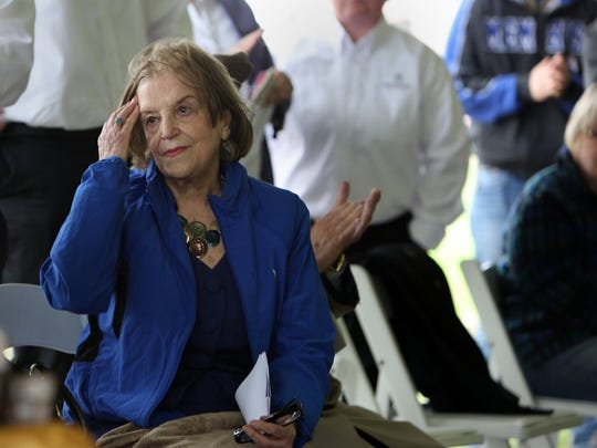 March 23, 2016 — Holocaust survivor Friderica Beck Saharovici takes part in a launch event for the 'The Unknown Child' project in Horn Lake Wednesday morning. The Unknown Child Foundation announced plans for a completed sculpture placed in a park setting on the grounds of the Circle G. Ranch. (Stan Carroll/The Commercial Appeal)