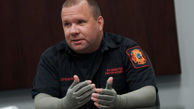 Wilmington firefighter Brad Speakman talks about his life a year after he was severely injured and burned in the Canby Park fire that killed three of his fellow firefighters.