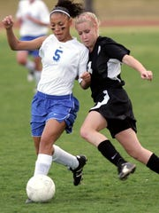 Britney Hawkins (left) starred on the soccer field and the volleyball court at Cathedral City High School.
