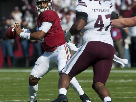Alabama quarterback Jalen Hurts (2) throws against Mississippi State at Bryant Denny Stadium in Tuscaloosa, Ala. on Saturday November 12, 2016. (Mickey Welsh / Montgomery Advertiser)