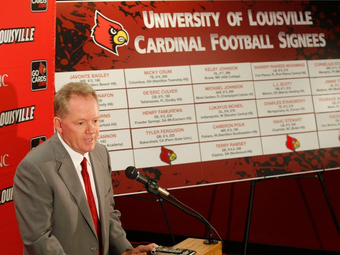 University of Louisville head football coach Bobby Petrino announces the 2014 football signees during national football signing day at Papa Johns Stadium in Louisville, Kentucky.       February 5 , 2014