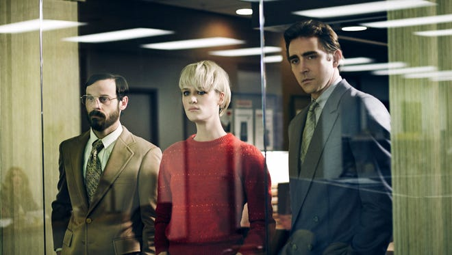 'Halt and Catch Fire' stars, from left, Scoot McNairy as Gordon Clark, Mackenzie Davis as Cameron Howe and Lee Pace as Joe MacMillan.