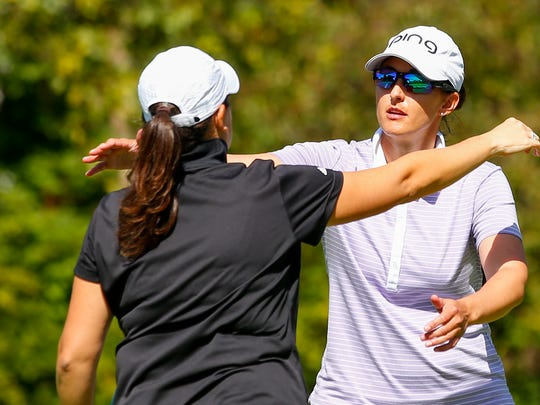 Shannon Johnson, right, hugging Julia Potter after Potter won 2 and 1 during the final round of match play at the 2016 U.S. Women's Mid-Amateur at The Kahkwa Club in Erie, Pa. on Thursday, Sept. 15, 2016. (Copyright USGA/Jared Wickerham)