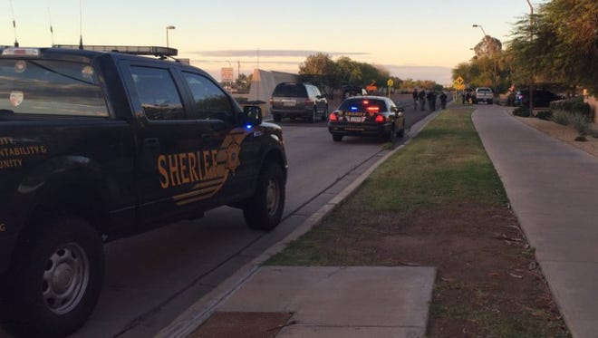 An MCSO deputy was shot multiple times by an unknown assailant the morning of May 7, 2016, while conducting a DUI stop.