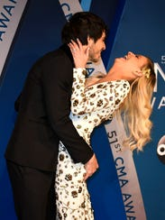 Kelsea Ballerini and Morgan Evans on the red carpet