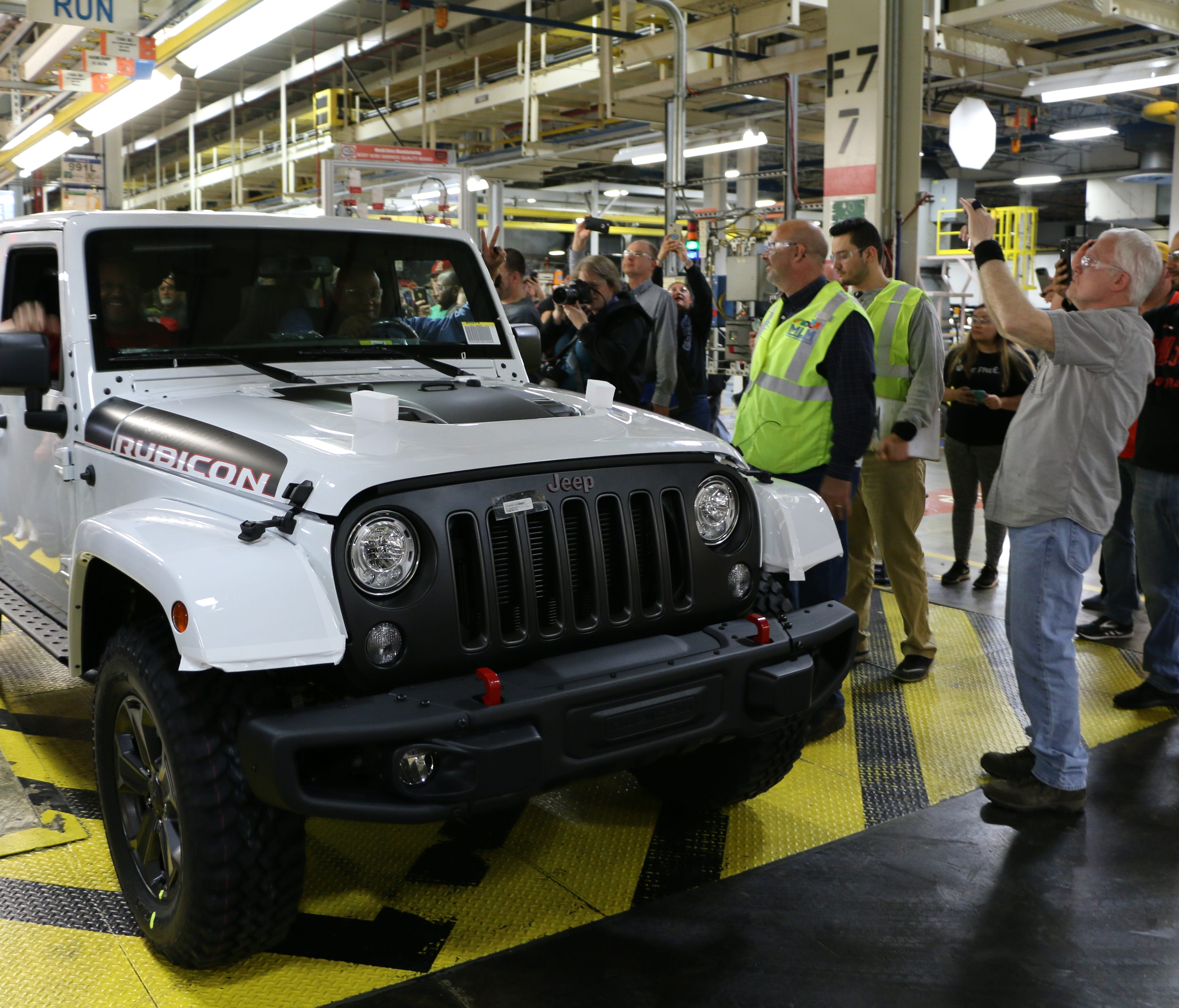 The last Jeep Wrangler JK rolls off the line in Toledo on Friday, April 27, 2018.