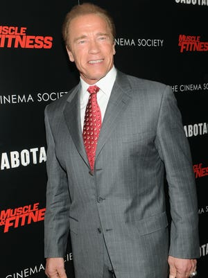 "Actor Arnold Schwarzenegger attends The Cinema Society with Muscle & Fitness screening of Open Road Films' ""Sabotage"" at AMC Loews Lincoln Square on March 25, 2014, in New York City."