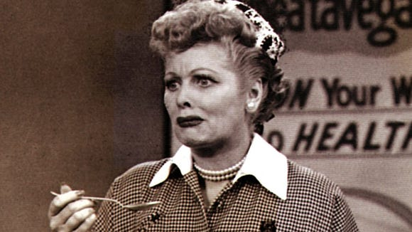 "Lucy Ricardo (Lucille Ball) doesn't realize the alcohol content of Vitameatavegamin on one of the most memorable episodes of ""I Love Lucy."""