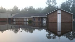 Flood waters surround a church in Summerville. S.C.,