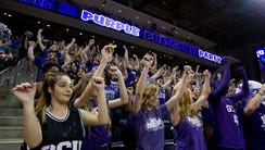 Grand Canyon University fans cheer during a basketball