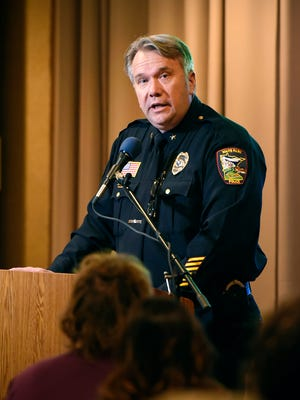 Waite Park police chief  Dave Bentrud gives an update on the department and new K9 officer Wednesday, Feb. 17, during the state of the city at the Waite Park American Legion.