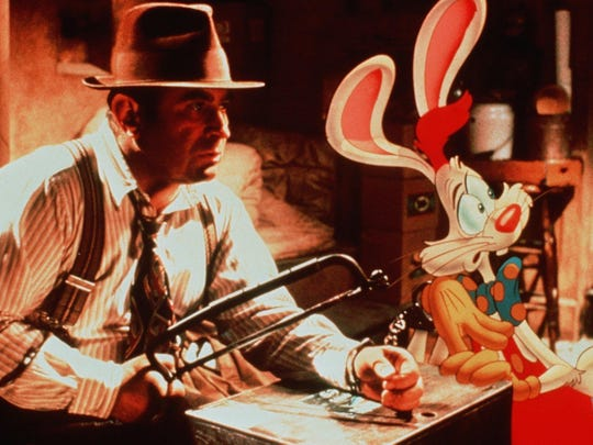 "Bob Hoskins and Roger Rabbit in a scene from the film ""Who Framed Roger Rabbit??"""