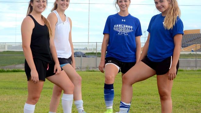 Senior midfielder Julie Thompson, senior forward Lauryn Wade, senior forward Tessa Graham and senior midfielder Madison Austin (from left to right) are among Carlsbad's key returners in 2016.