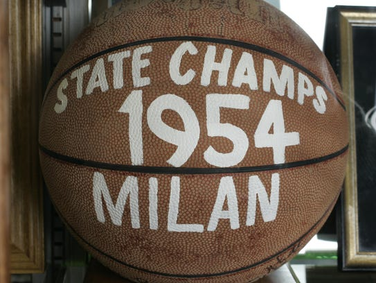 Memorabilia from the 1954 state champion Milan Indians
