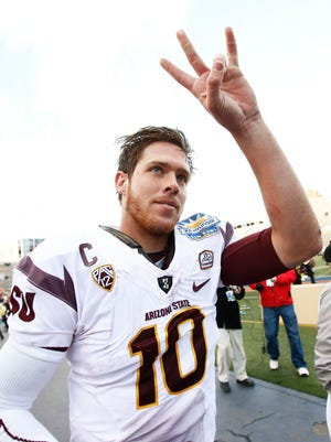 Arizona State quarterback Taylor Kelly says goodbye to Sun Devil fans after beating Duke in the final game of his college career on Saturday, Dec. 27, 2014, at the Sun Bowl in El Paso.