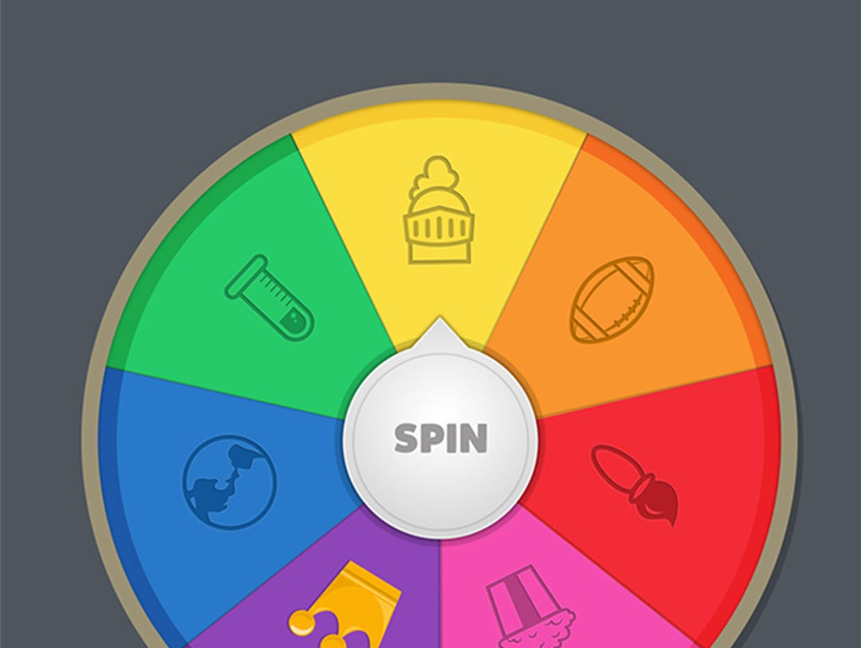 To play Trivia Crack, users spin a wheel that determines each question.
