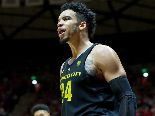 Oregon Ducks forward Dillon Brooks reacts during the