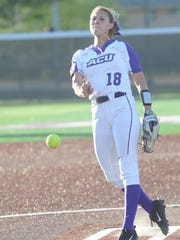 ACU junior Hannah Null throws a pitch in the first inning against Texas A&M-Corpus Christi in Game 2 of their doubleheader Friday, March 31, 2017 at Poly Wells Field. ACU won the game 7-2 to sweep the doubleheader.
