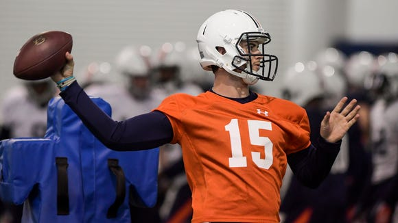Jarrett Stidham practiced with Auburn during preparation for the Sugar Bowl.