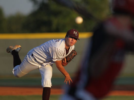 Madison County's Drew Herring pitches against Lafayette