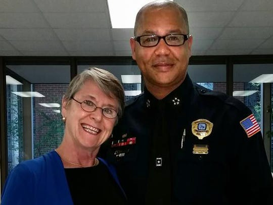 Elaine Blanchard with Memphis Police Director Michael Ralllings. This photo was part of a social media post presented in federal court on Thursday, August 23, 2018. Blanchard testified this picture was taken before she knew she was on a list of activists who required special security measures at City Hall.