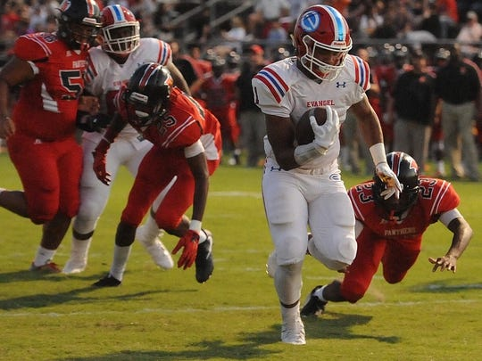 Evangel's Tamauge Sloan runs for big yardage in a game earlier this season.