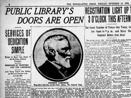Dedication ceremonies at Binghamton's Carnegie Library when it opened on Oct. 14, 1904.