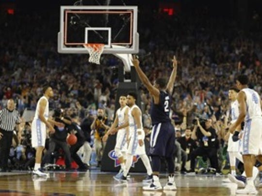 Villanova player Kris Jenkins makes the game-winning three-pointer in the NCAA National Championship.
