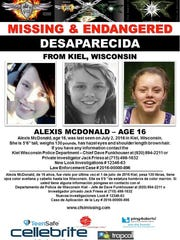 Center for Search & Investigations flier for missing Kiel teen Alexis McDonald.