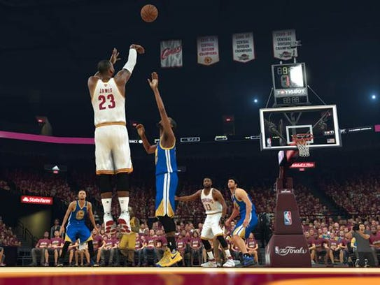 LeBron James shoots a three-pointer in an NBA 2K17