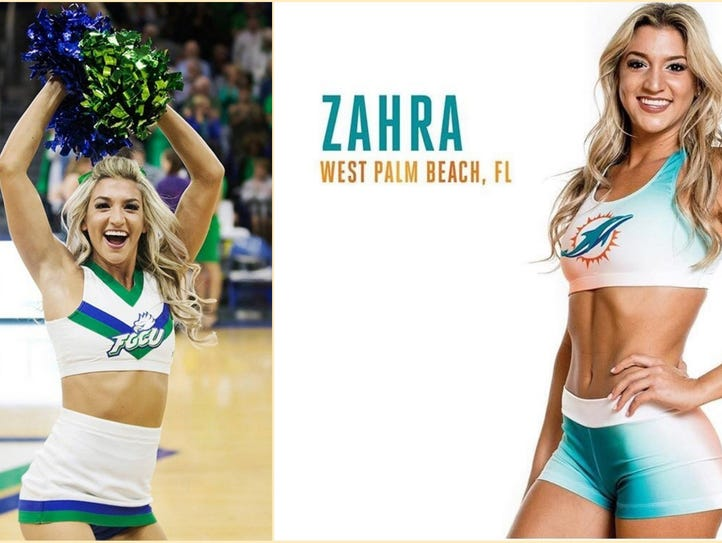 FGCU's Zahra Fayad leads a cheer during a basketball