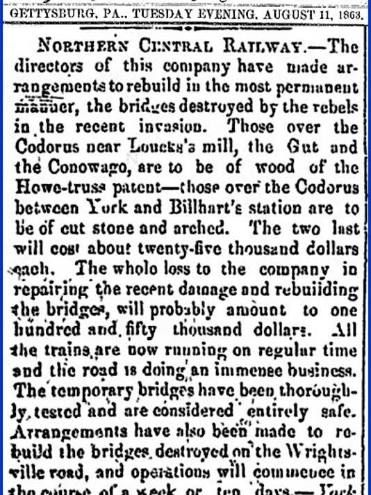 Article on Northern Central Railway Bridges (The Adams Sentinel, Gettysburg, Pa., August 11, 1863)