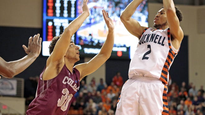 Bucknell's Stephen Brown (2) shoots against Colgate in the Patriot League championship game. Brown, a senior, is Bucknell's third-leading scorer at 14.9 points per game.