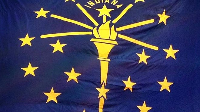 Detail of the flag of Indiana at the Indiana Statehouse.