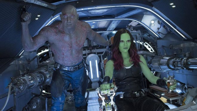 """Dave Bautista and Pom Klementieff in """"Guardians of the Galaxy Vol. 2."""""""