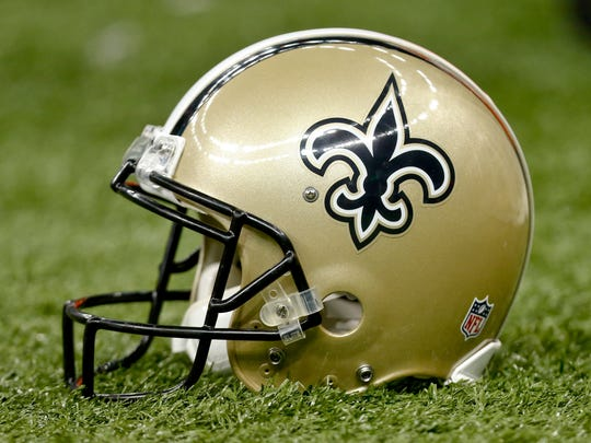 A detail of a New Orleans Saints helmet  at Mercedes-Benz Superdome.